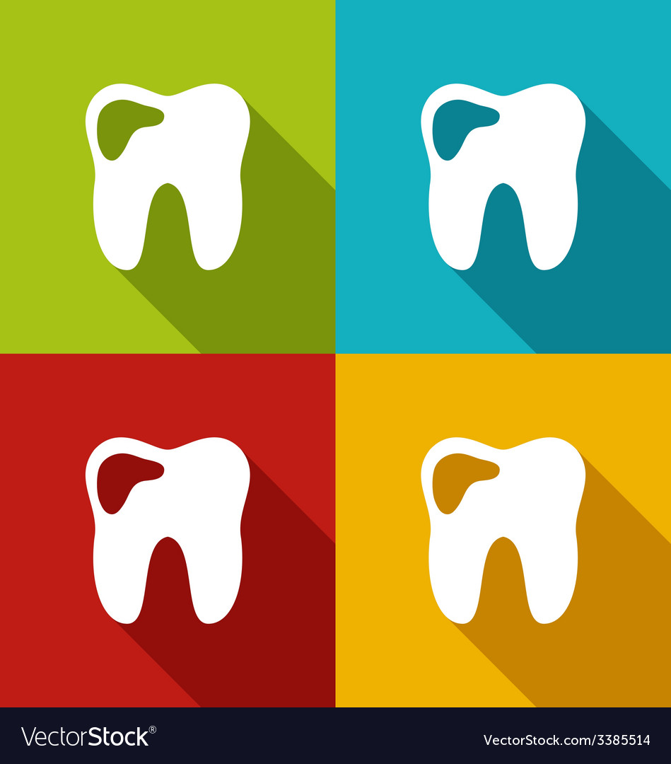 Icons of human tooth with shadows in modern flat vector | Price: 1 Credit (USD $1)