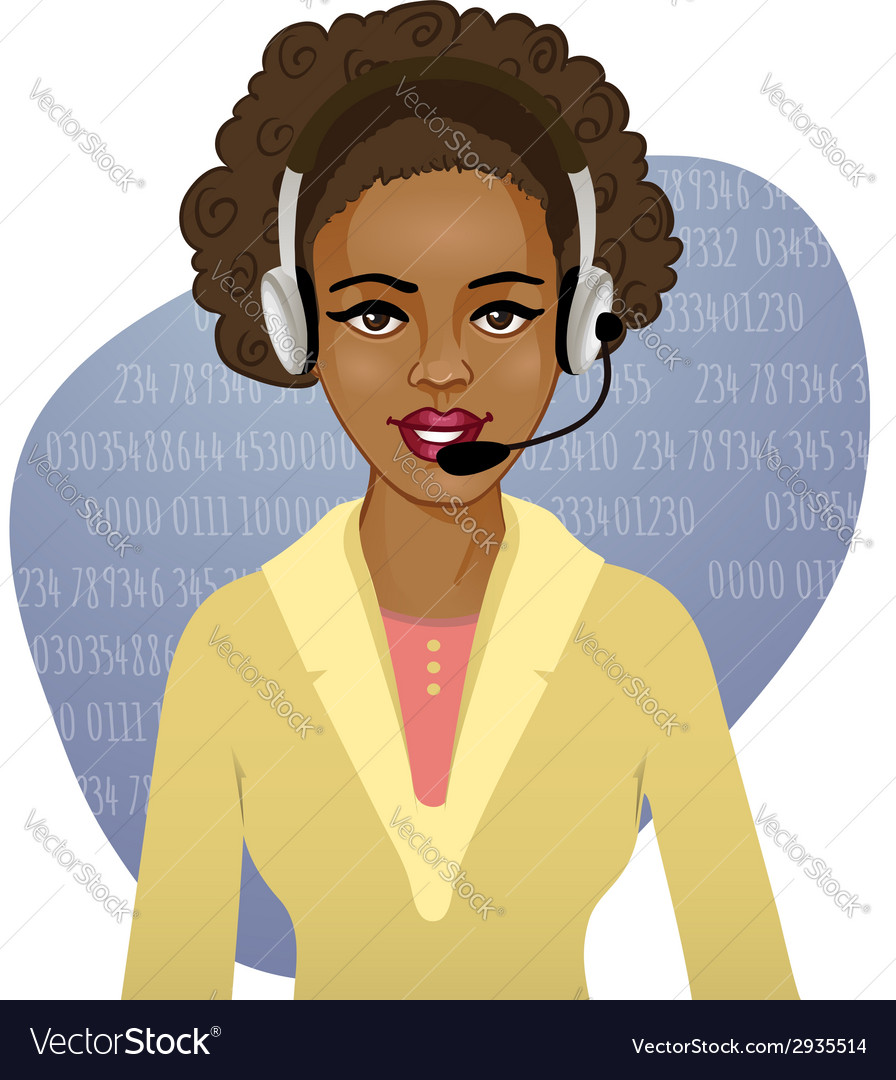 Young african american woman a call operator eps10 vector | Price: 1 Credit (USD $1)