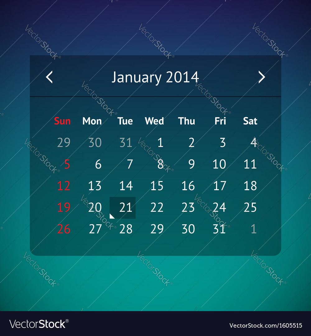 Calendar page for january 2014 vector | Price: 1 Credit (USD $1)