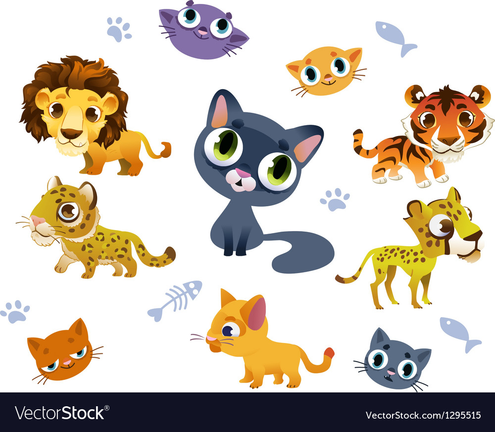 Collection of wild cats vector | Price: 1 Credit (USD $1)