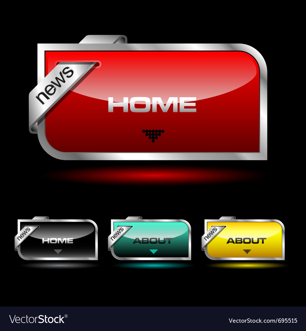 Editable website buttons wth glossy and metallic e vector   Price: 1 Credit (USD $1)