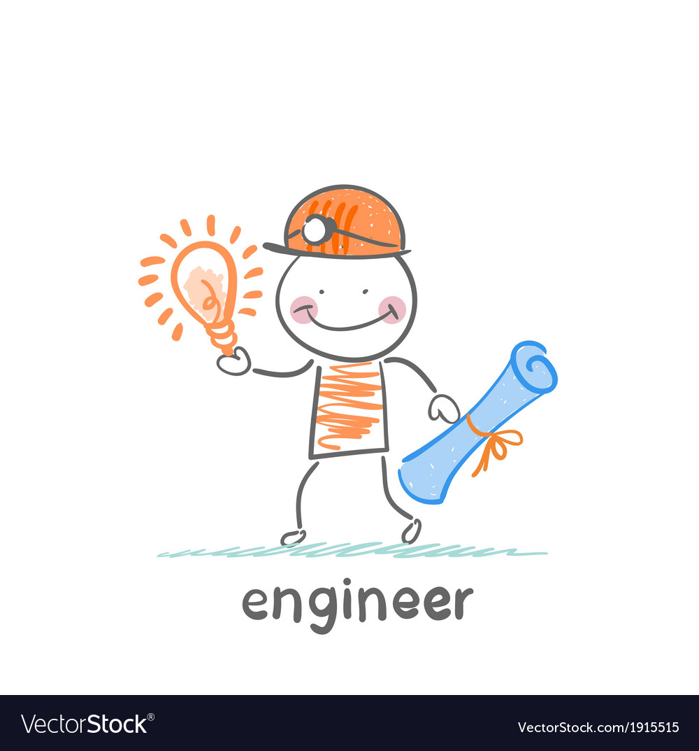 Engineer holding blueprints and idea vector | Price: 1 Credit (USD $1)
