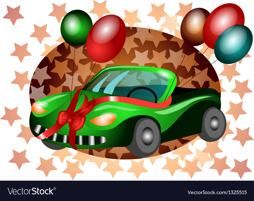 Festive car vector | Price: 1 Credit (USD $1)