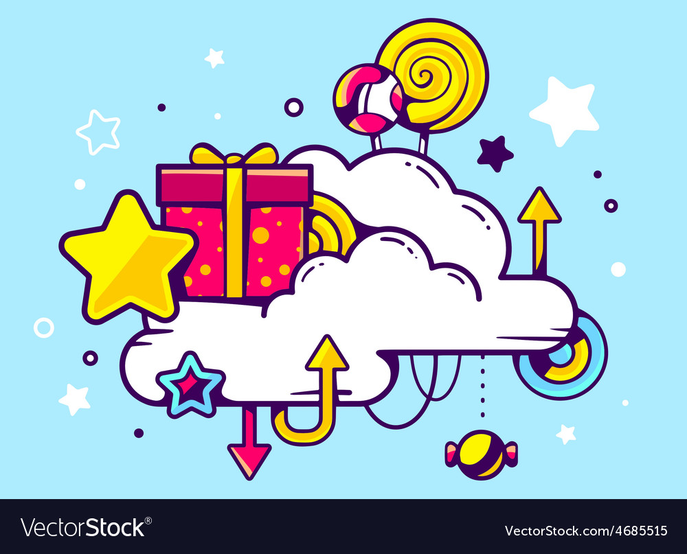 Gift box and confection with cloud on blu vector | Price: 3 Credit (USD $3)