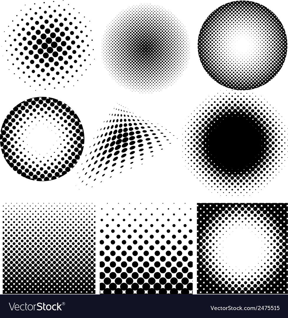 Halftone collection on white background vector | Price: 1 Credit (USD $1)