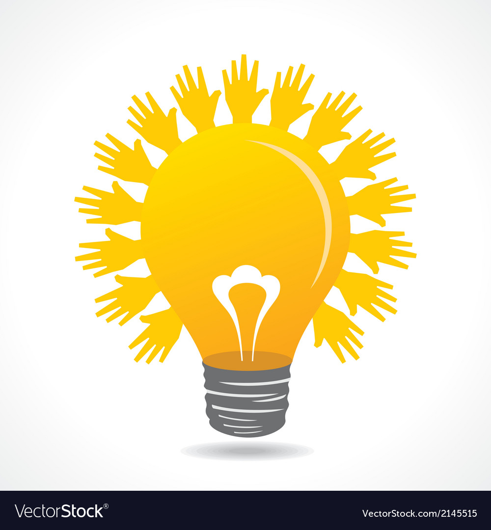 Hand make light beam around bulb vector | Price: 1 Credit (USD $1)