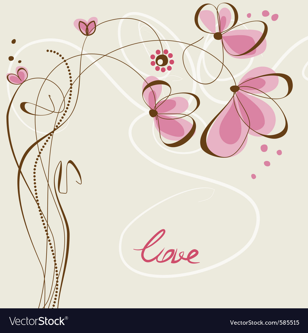 Love floral card vector | Price: 1 Credit (USD $1)