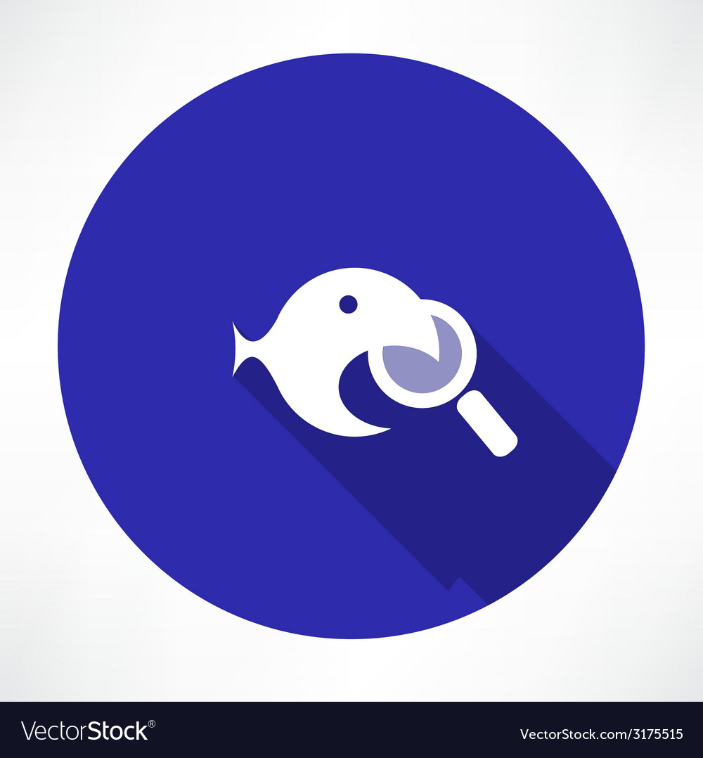 Magnifying glass with a fish icon vector   Price: 1 Credit (USD $1)