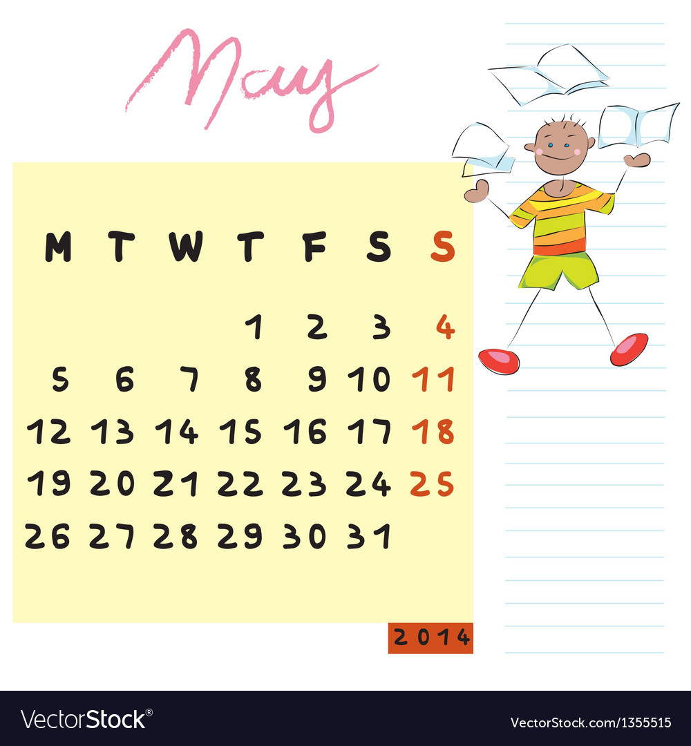 May 2014 kids calendar vector | Price: 1 Credit (USD $1)