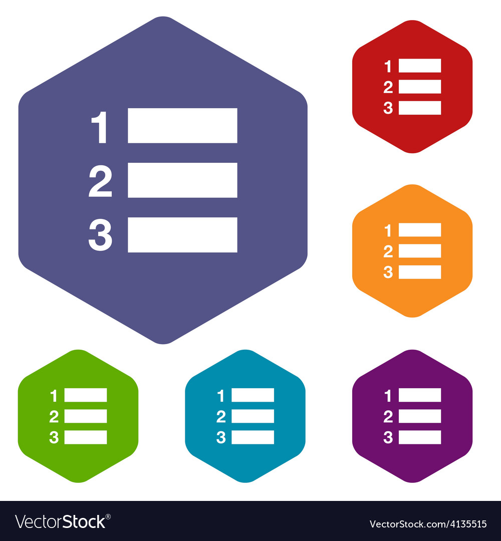 Numbered list rhombus icons vector | Price: 1 Credit (USD $1)