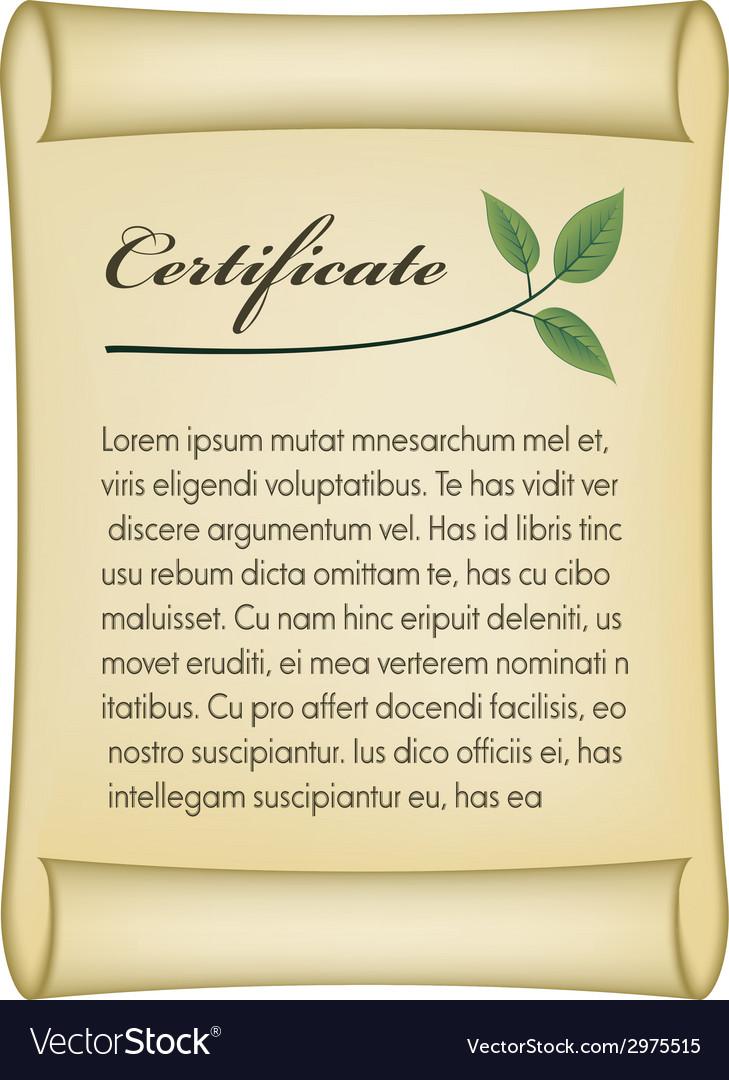 Old bio certificate vector | Price: 1 Credit (USD $1)