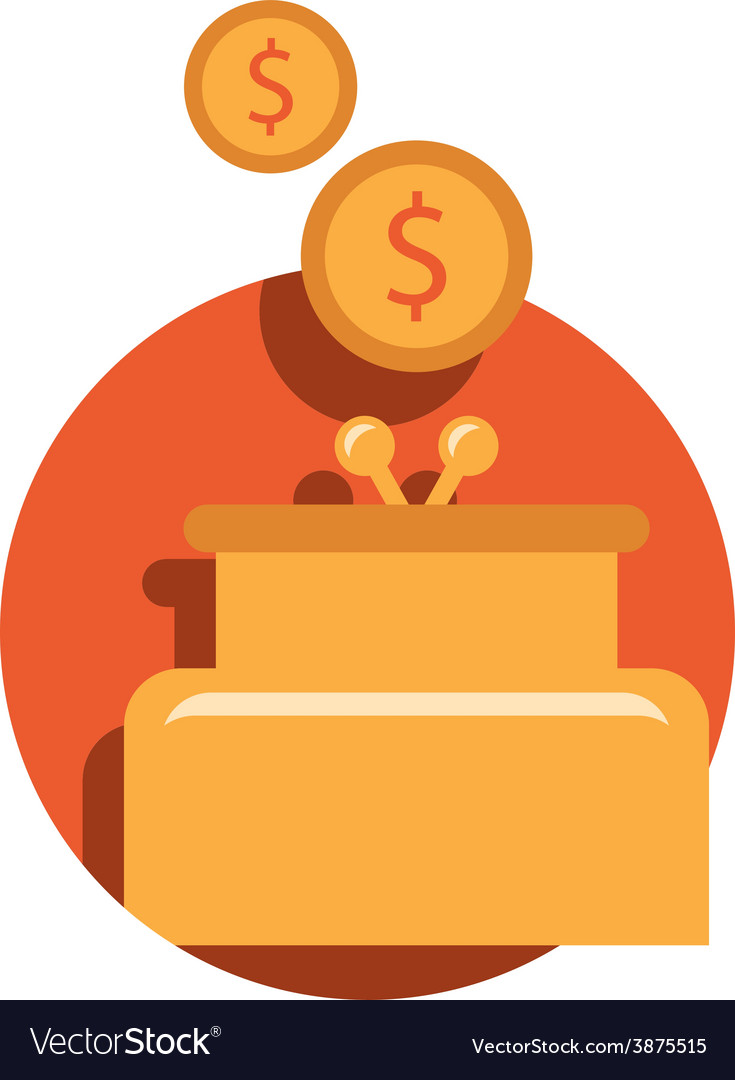 Purse and coin modern flat icon vector | Price: 1 Credit (USD $1)