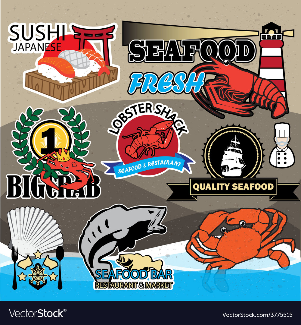 Seafood symbols vector | Price: 1 Credit (USD $1)
