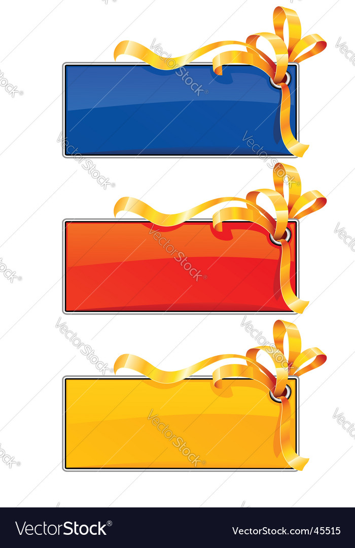 Tree banners with gold ribbon vector | Price: 1 Credit (USD $1)