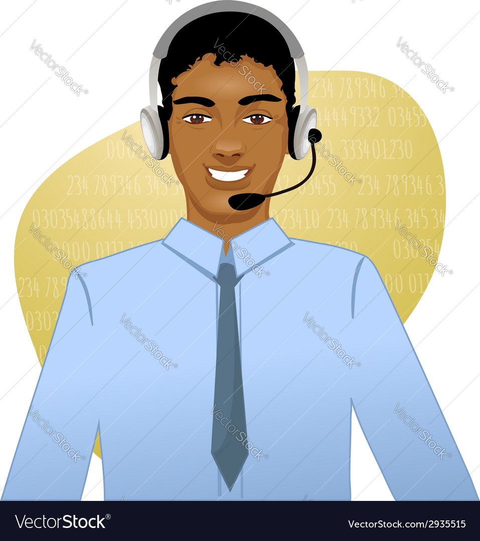 Young african american man a call operator eps10 vector | Price: 1 Credit (USD $1)