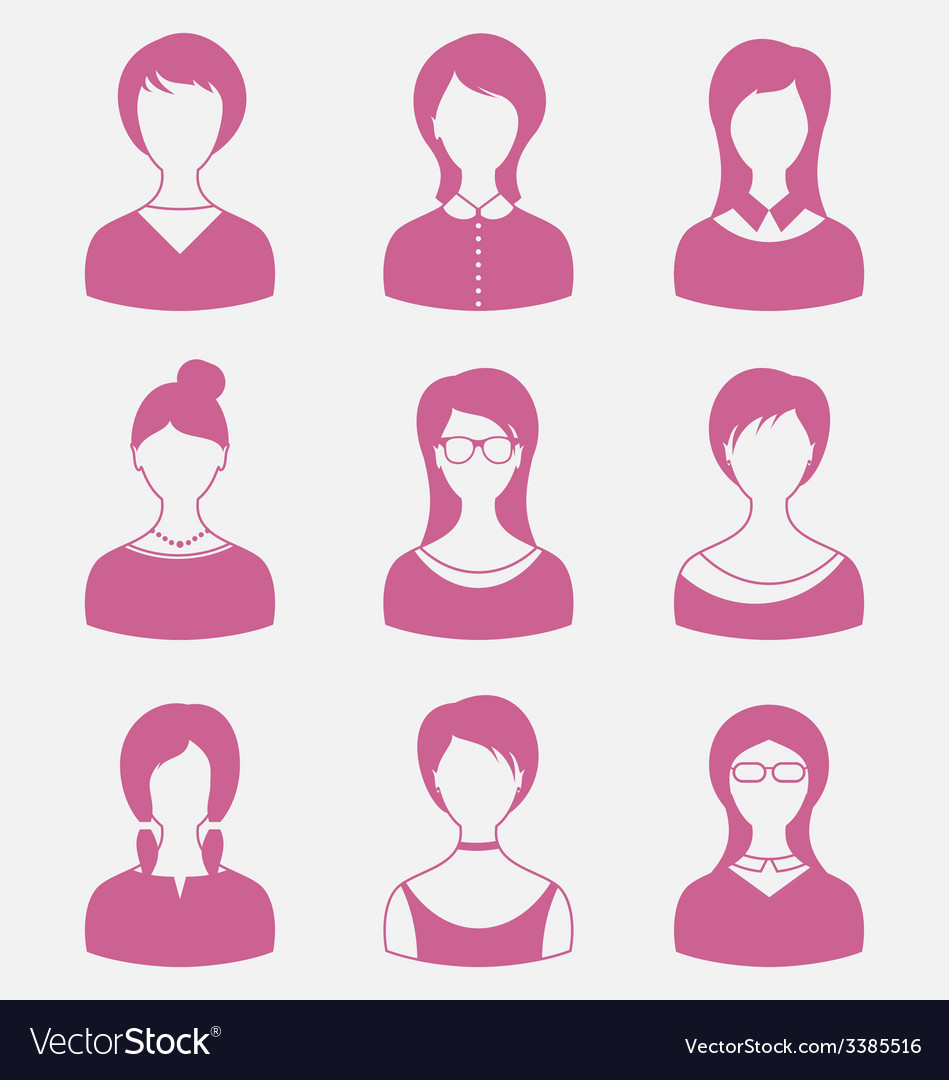 Avatars set front portrait of females isolated on vector | Price: 1 Credit (USD $1)