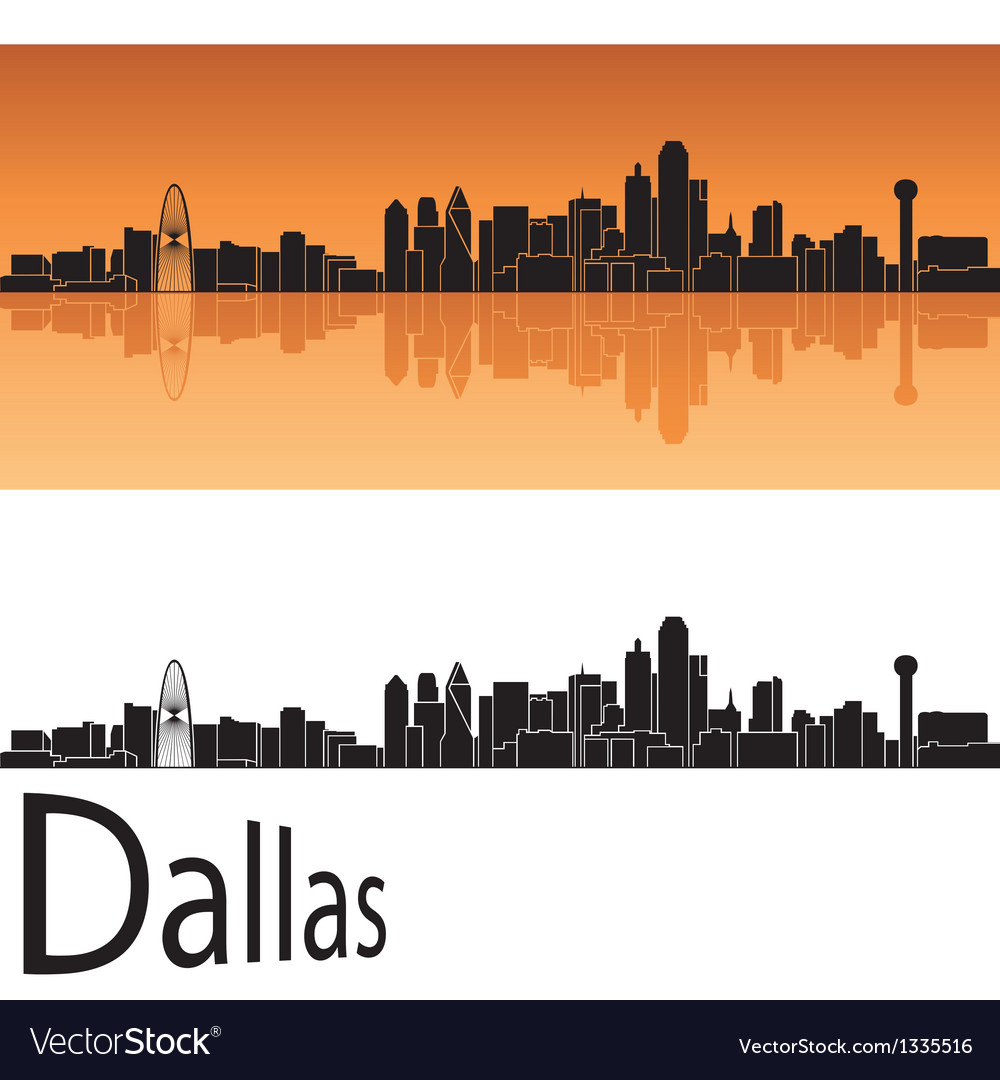 Dallas skyline in orange background vector | Price: 1 Credit (USD $1)