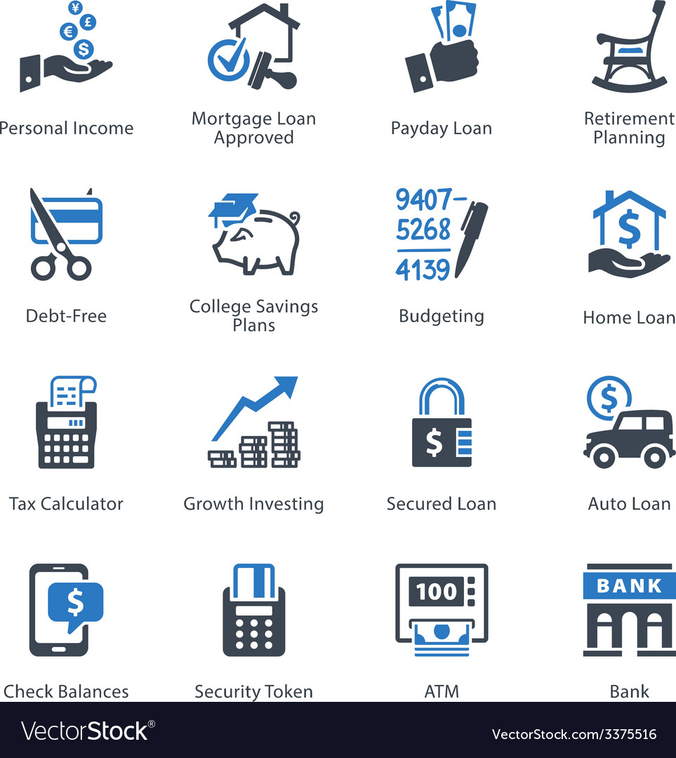 Finance icons set 2 - blue series vector | Price: 1 Credit (USD $1)