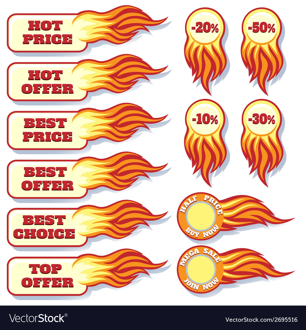 Hot price and offers sale flaming badges set vector | Price: 1 Credit (USD $1)