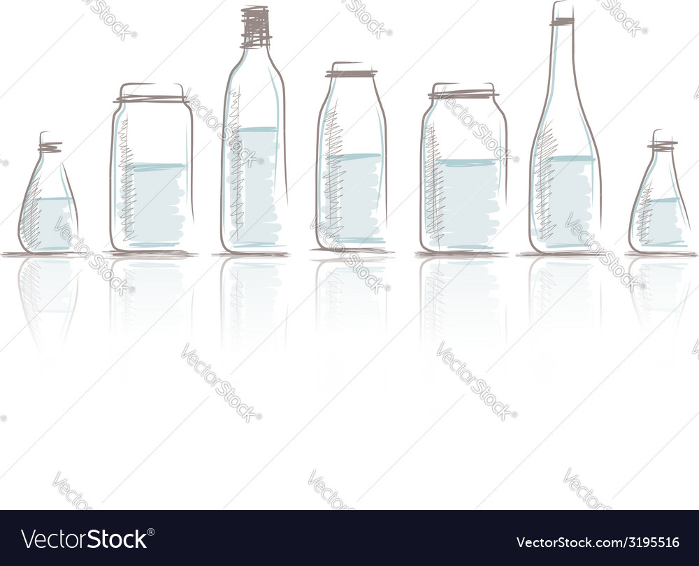 Set of bottles sketch for your design vector | Price: 1 Credit (USD $1)