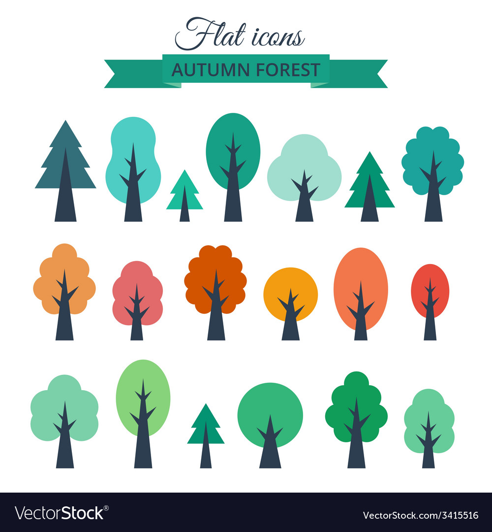 Set with colored flat trees vector