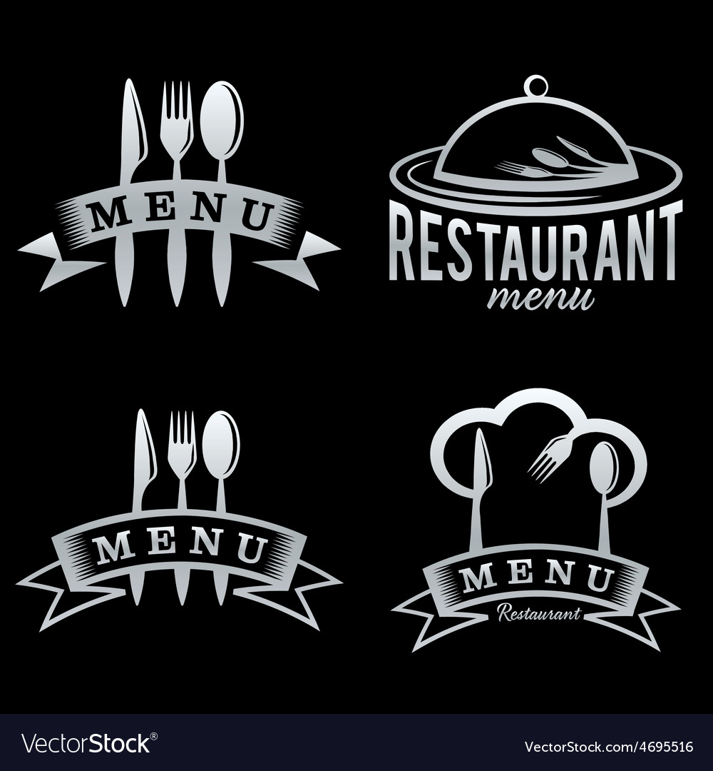 Silver restaurant and menu elements set vector | Price: 1 Credit (USD $1)