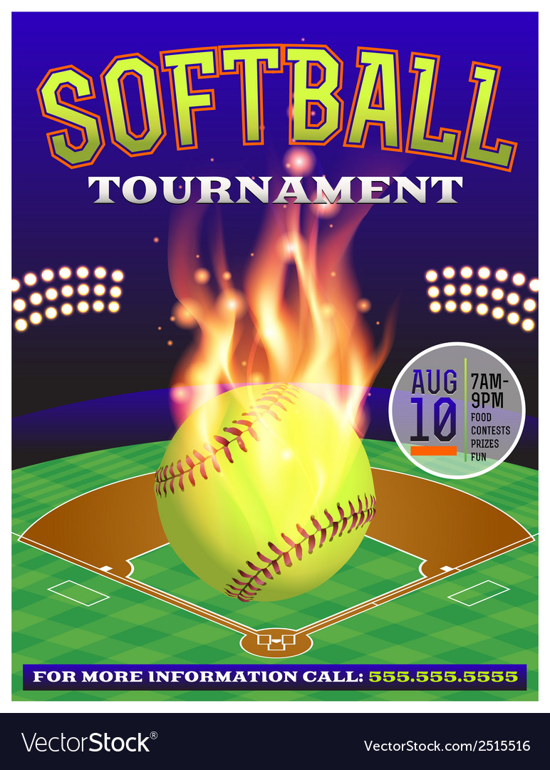Softball tournament flyer vector | Price: 1 Credit (USD $1)