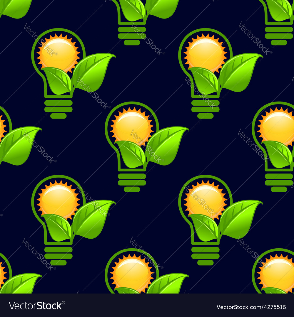 Sun inside lightbulb with leaves seamless pattern vector | Price: 1 Credit (USD $1)