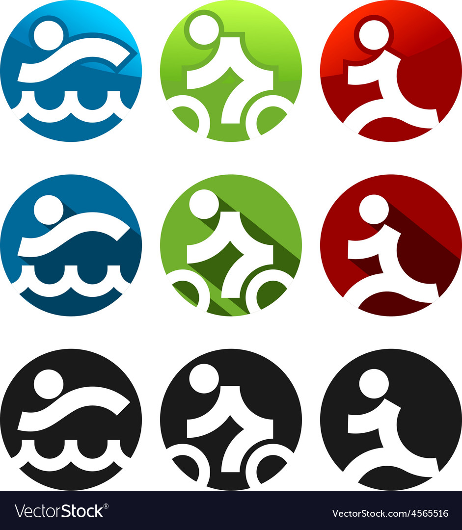 Triathlon icons vector | Price: 1 Credit (USD $1)