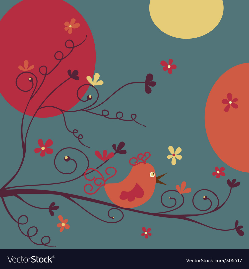 Bird and flowers vector