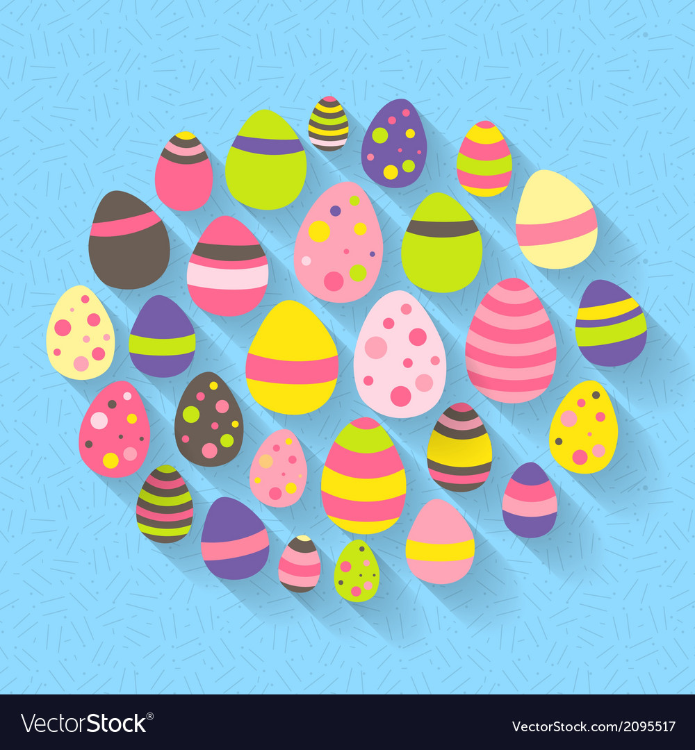 Easter eggs icon set on a blue vector | Price: 1 Credit (USD $1)