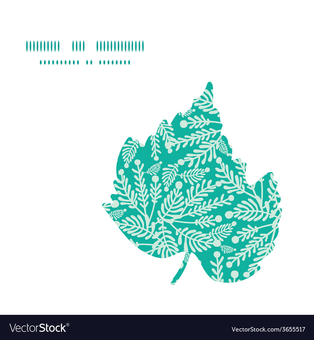Emerald green plants leaf silhouette pattern frame vector | Price: 1 Credit (USD $1)