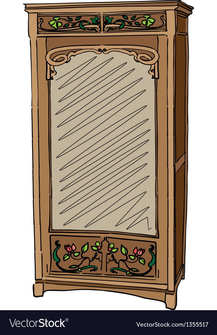Jugendstil wardrobe with mirror vector | Price: 1 Credit (USD $1)