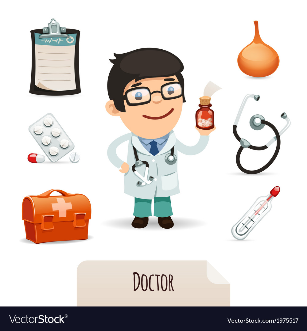 Medical set with a male doctor vector | Price: 1 Credit (USD $1)