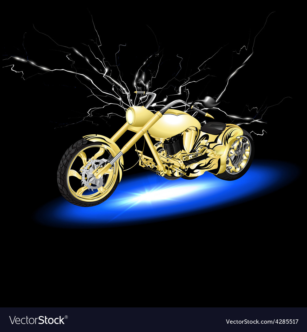 Motorcycle with lightning vector | Price: 3 Credit (USD $3)