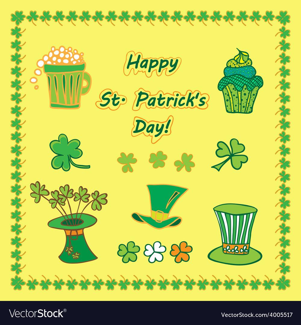 Set irish st patrick day pattern with flat symbols vector | Price: 1 Credit (USD $1)