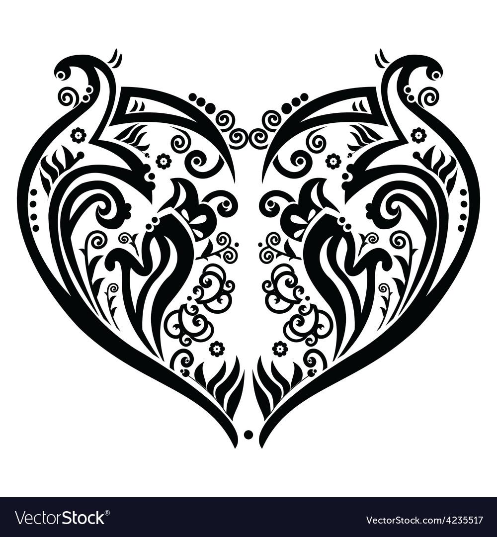 Swirly heart tatoo inspired vector | Price: 1 Credit (USD $1)