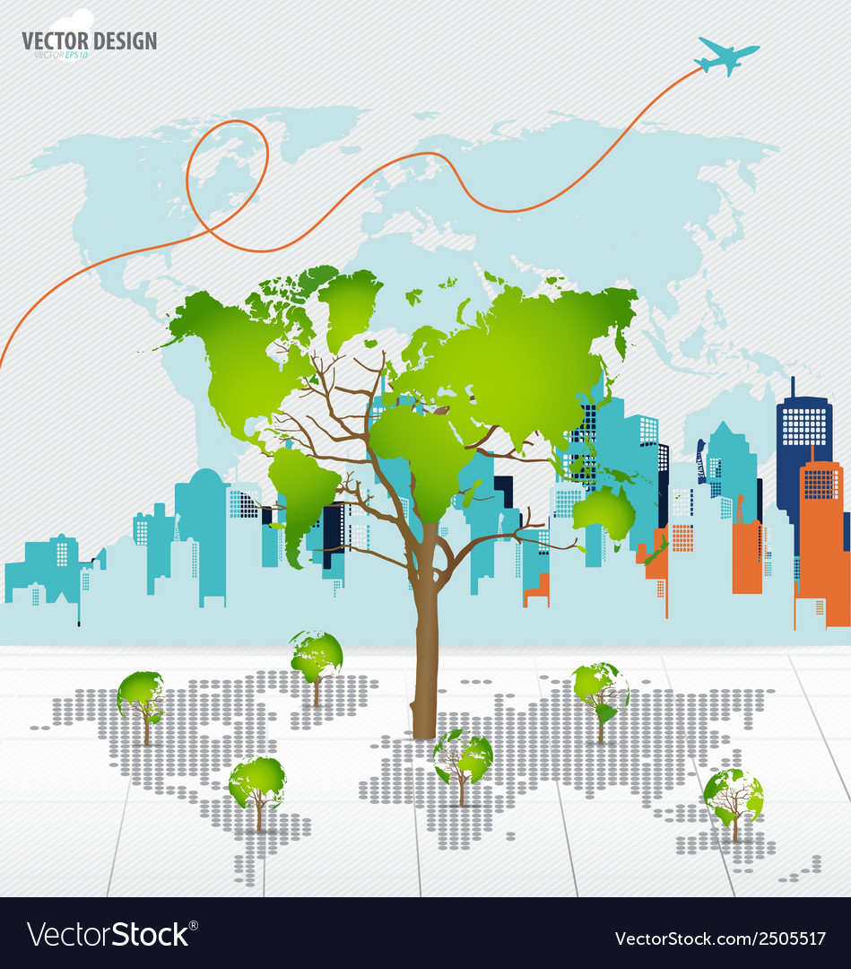 Tree shaped world map with building background vector | Price: 1 Credit (USD $1)