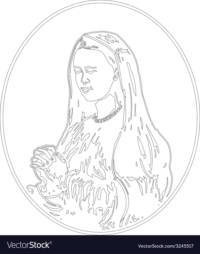Virgin mary praying vector | Price: 1 Credit (USD $1)
