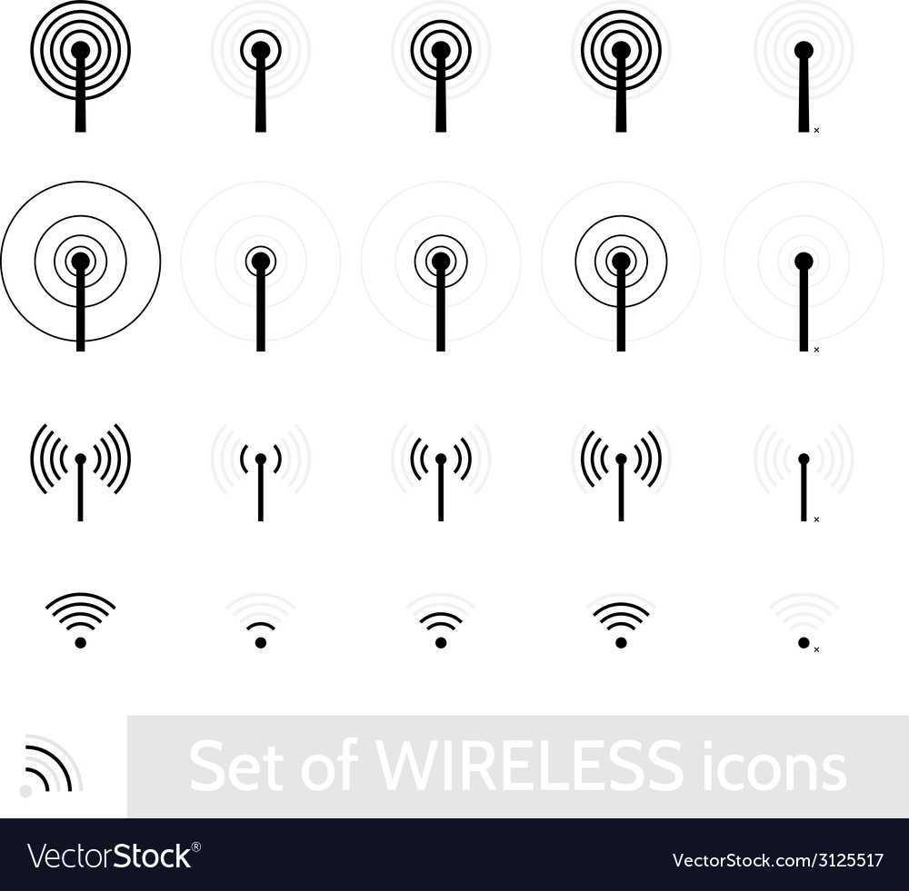 Wireless icons set vector | Price: 1 Credit (USD $1)