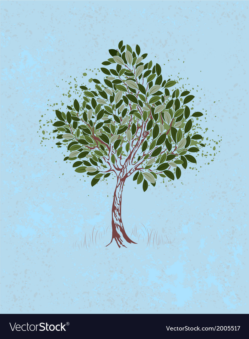 Young tree on a blue background vector | Price: 1 Credit (USD $1)