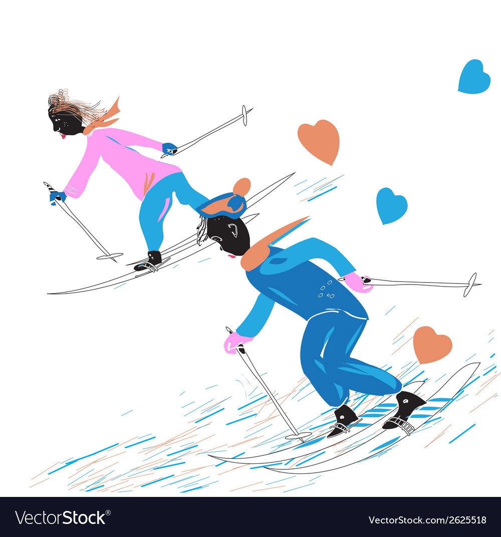 A couple skiing vector | Price: 1 Credit (USD $1)
