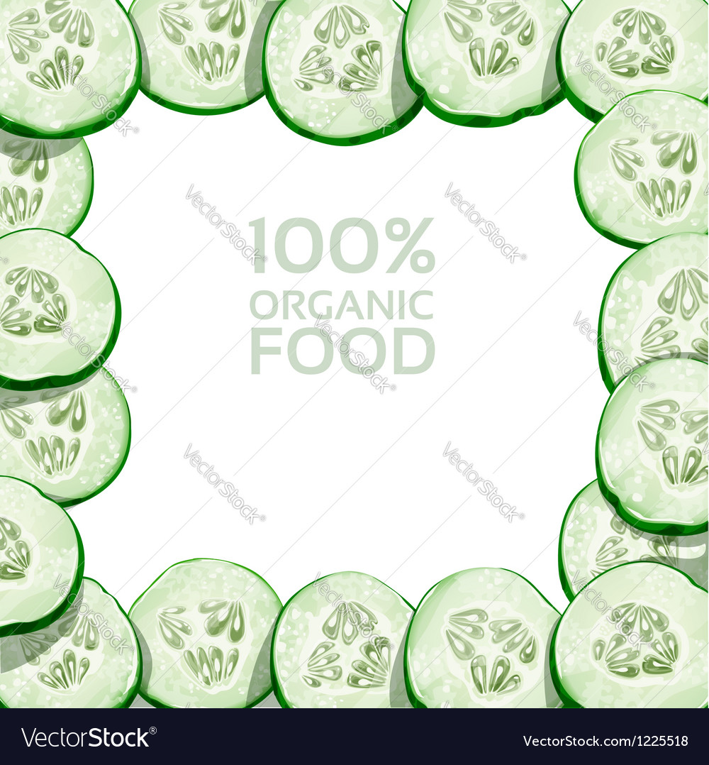 Beautiful frame from slices of fresh cucumber vector | Price: 3 Credit (USD $3)