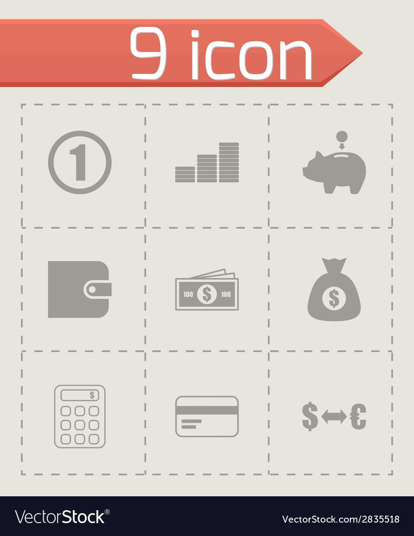 Black money icons set vector | Price: 1 Credit (USD $1)