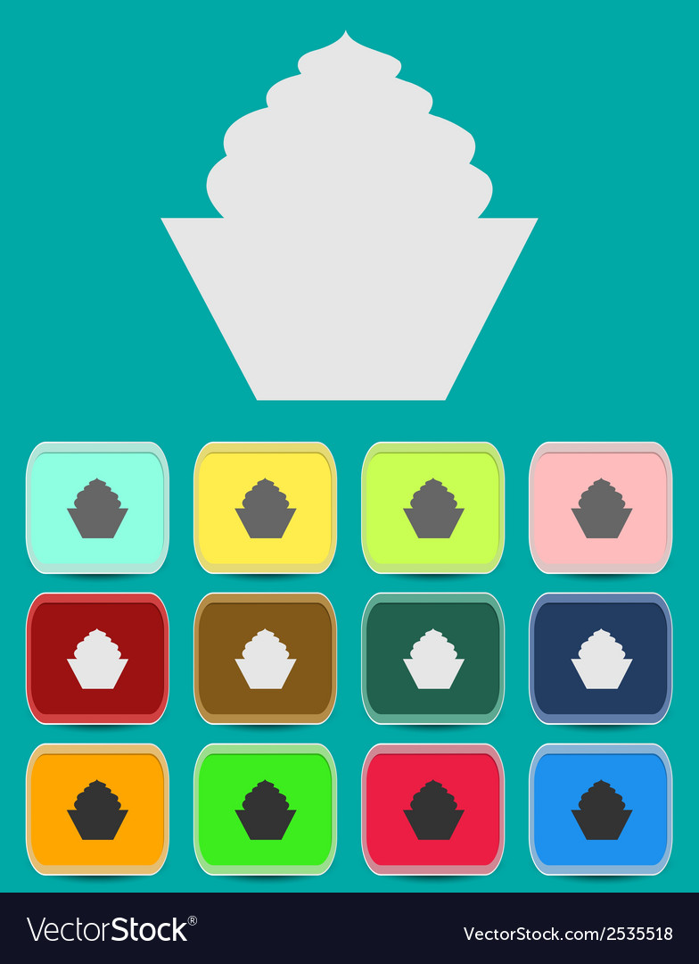 Cake sign icon round colourful 12 buttons vector | Price: 1 Credit (USD $1)