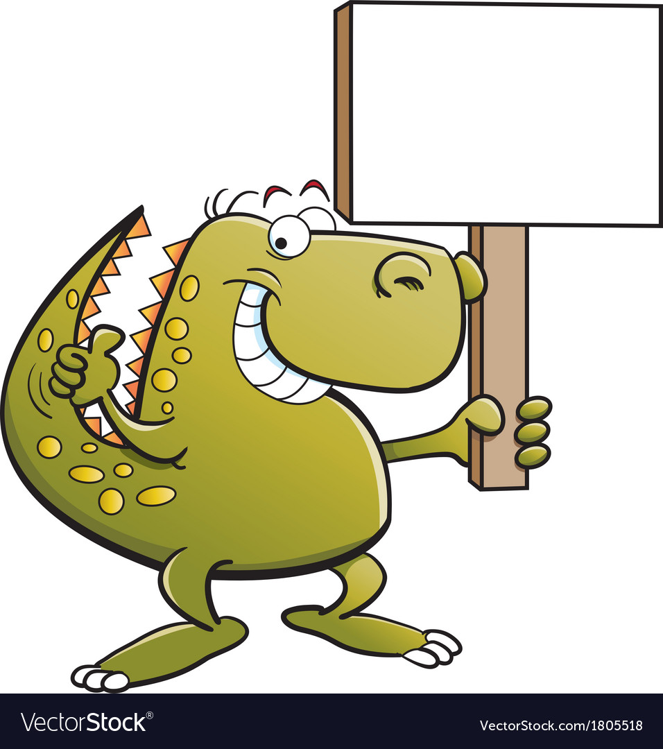 Cartoon tyrannosaurus rex holding a sign vector | Price: 1 Credit (USD $1)