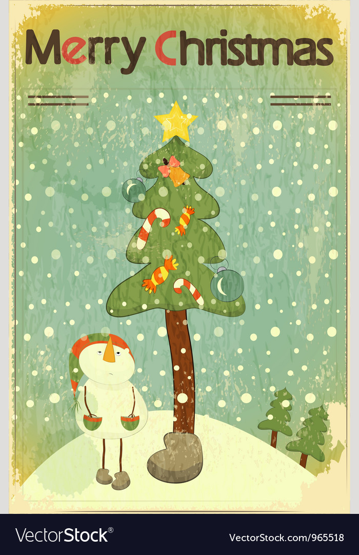 Christmas retro placard vector | Price: 1 Credit (USD $1)