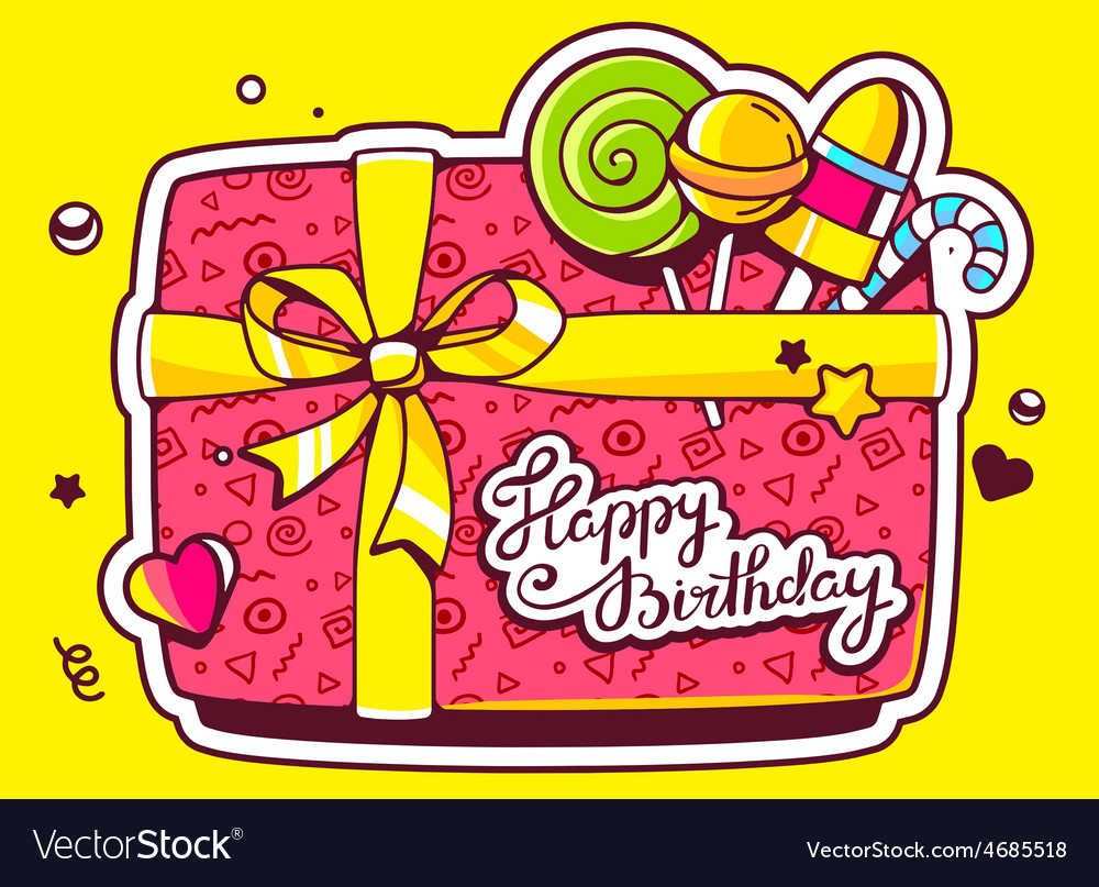 Gift box top view and confectionery with vector | Price: 3 Credit (USD $3)