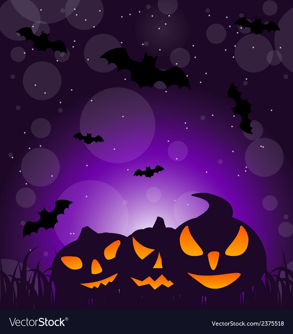 Halloween ominous pumpkins on moonlight background vector | Price: 1 Credit (USD $1)