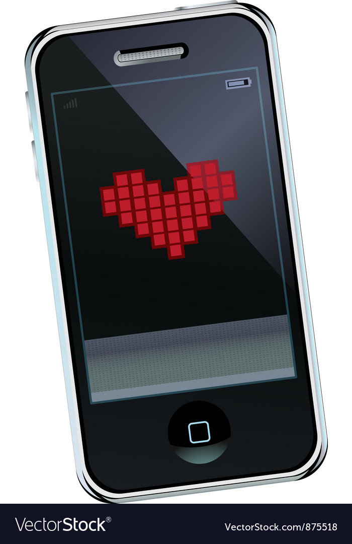 Mobile phone with heart vector | Price: 1 Credit (USD $1)